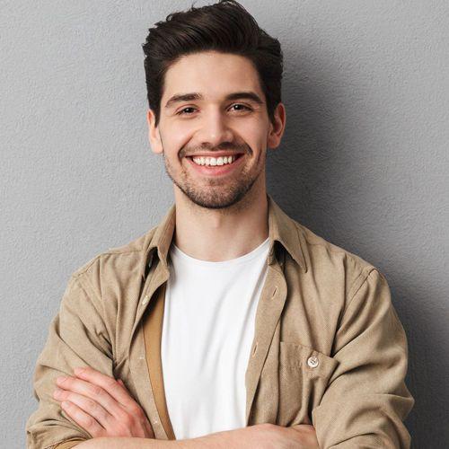happy man after visiting the dentist at river valley dental